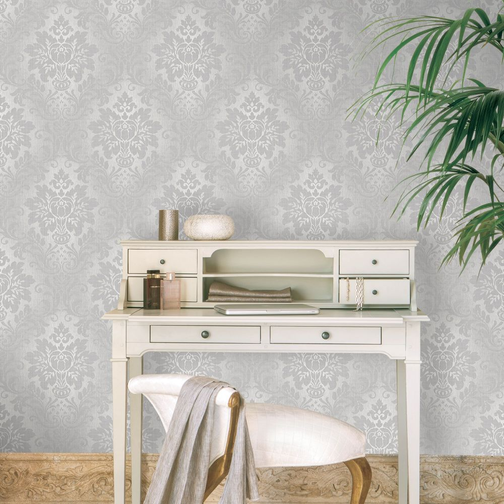 Grandeco Silver Fabric Damask A10904 Wallpaper